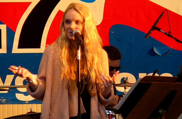 The Voice winner Danielle Bradbery chats with the crowd at her Saturday night show at the York Fair. (Mark Franklin Photo)